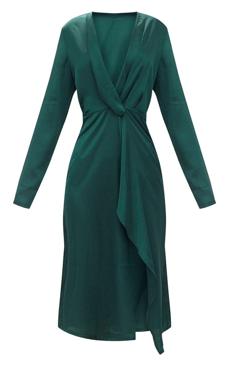 Emerald Green Satin Long Sleeve Wrap Midi Dress