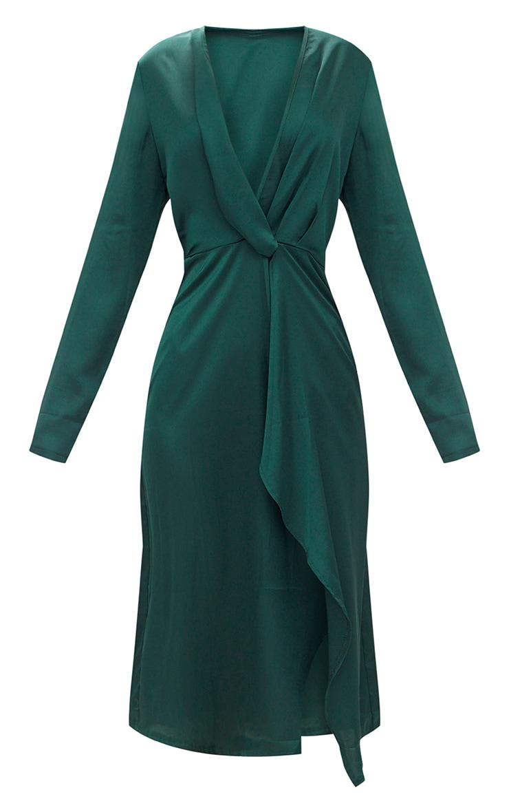 Emerald Green Satin Long Sleeve Wrap Midi Dress 3