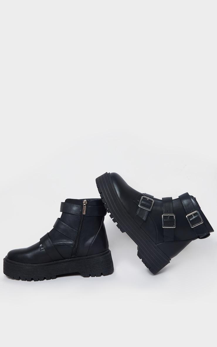 Black Double Sole Triple Buckle Biker Boots 3