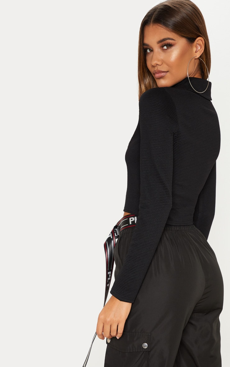 Black Rib Zip Up Top 2