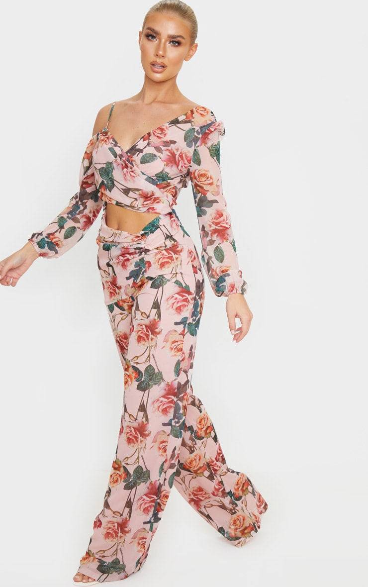Pink Rose Print Chiffon Cut Out Jumpsuit 4