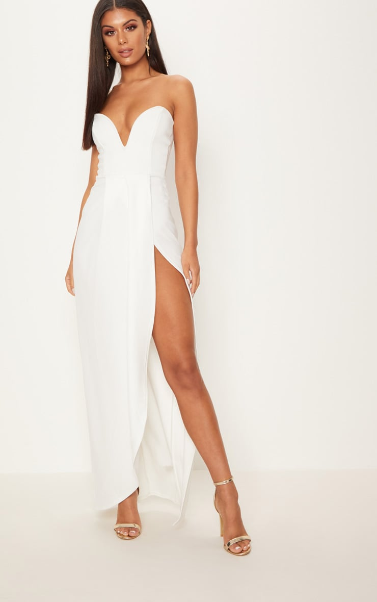 White Draped Wrap Detail Bandeau Maxi Dress 1