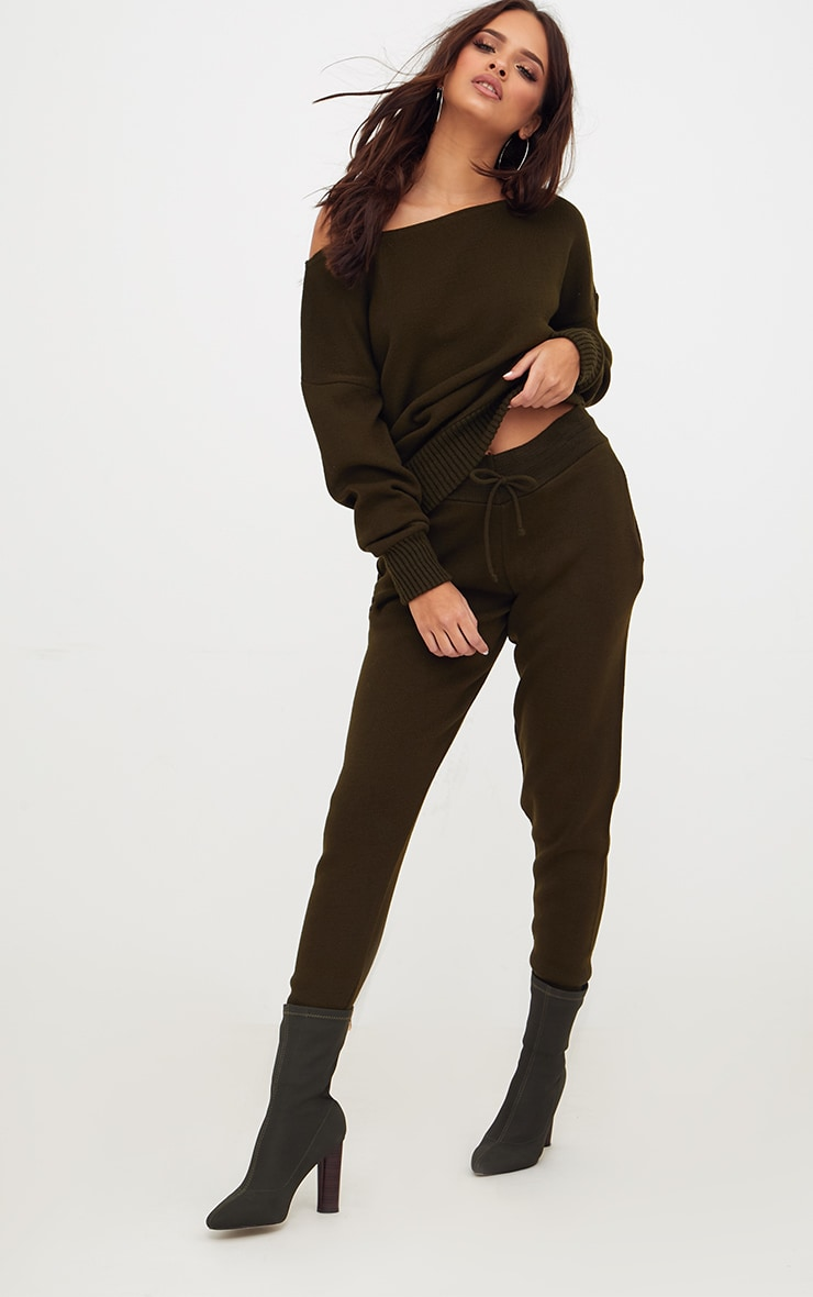 Khaki Jogger Jumper Knitted Lounge Set