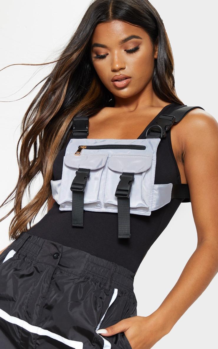 Grey Nylon Double Pocket Front Harness Bag 1