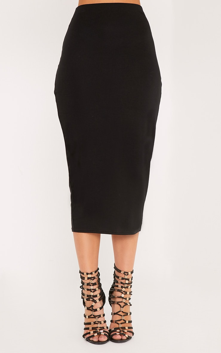 Basic Black Longline Midi Skirt 2