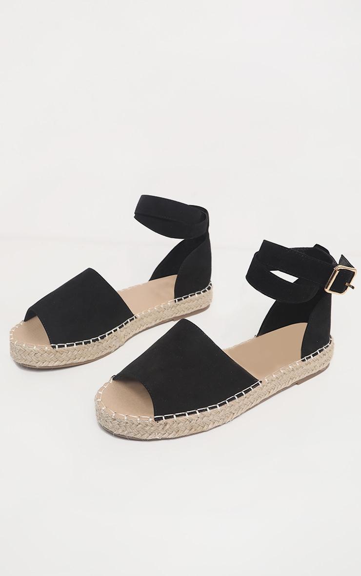 Black Peep Toe Espadrille Flat 3