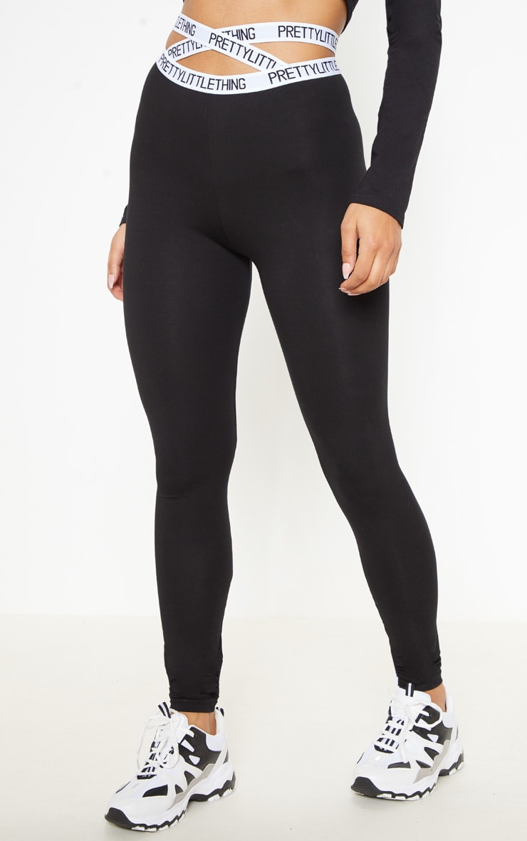 PRETTYLITTLETHING Black Strappy Waist Leggings 2