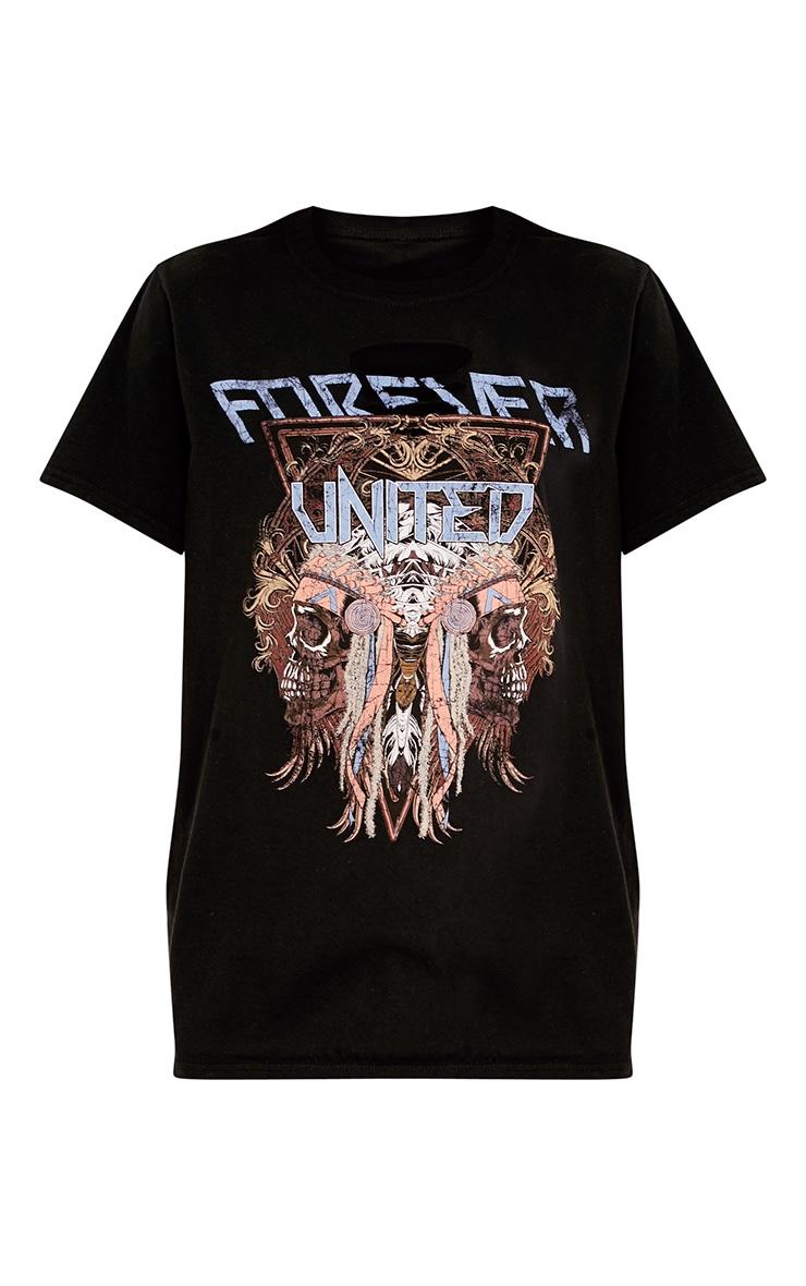 Forever Slogan Black Print Slash Neck T Shirt 3