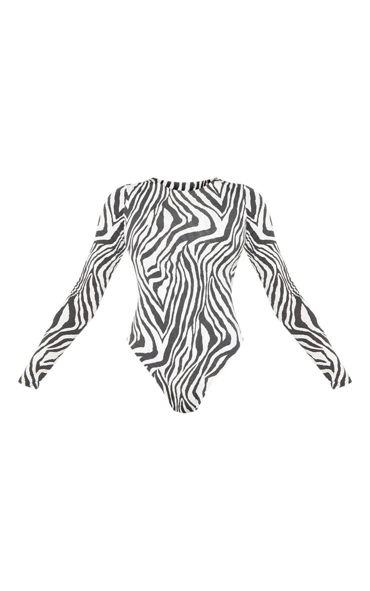 Tall White Zebra Print Slinky Long Sleeve Bodysuit 3
