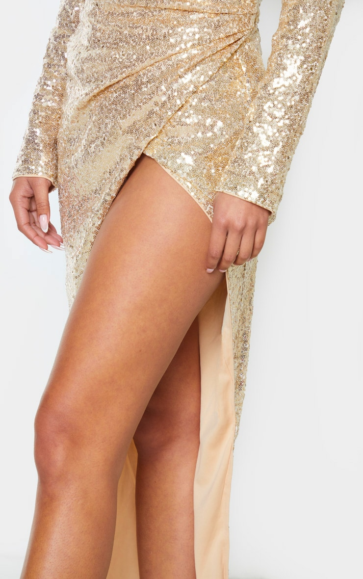 Gold Sequin Long Sleeve Plunge Wrap Detail Maxi Dress 5