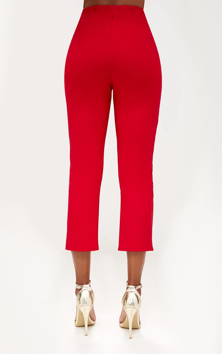 Red Front Split Straight Leg Trousers 4