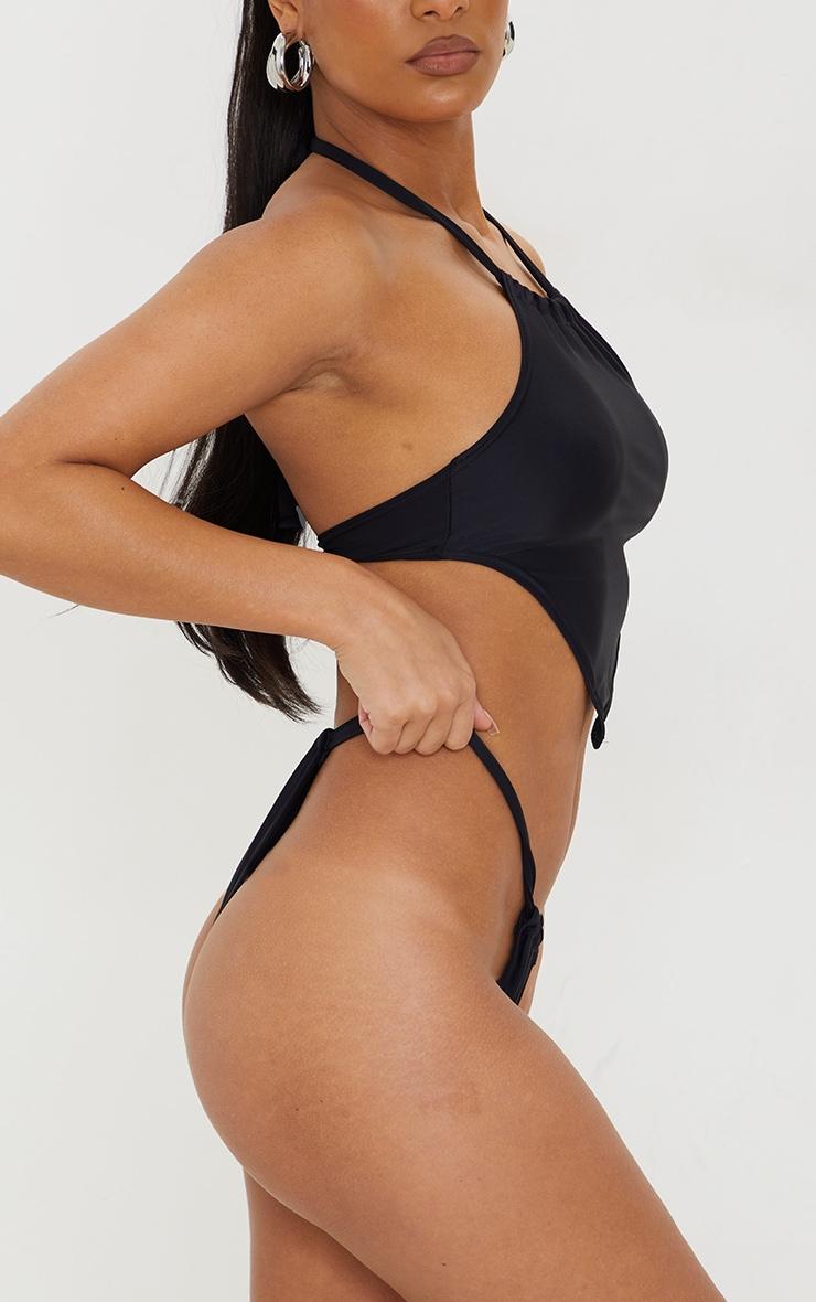 Black Racer Neck Scarf Bikini Top 2