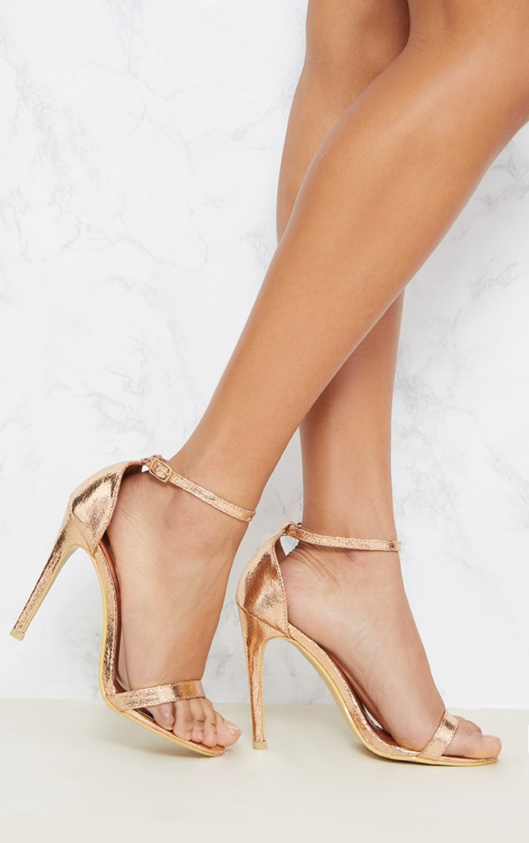 Clover Rose Gold Strap Heeled Sandals 1