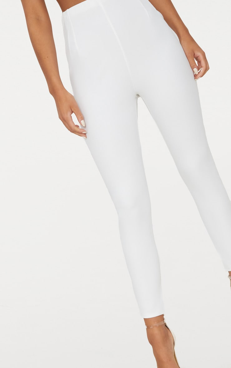White High Waisted Pleat Front Detail Trouser 5