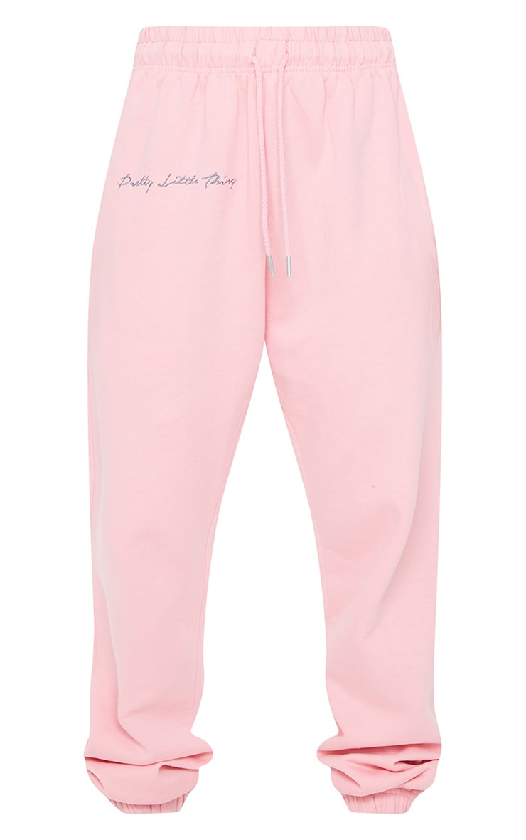 PRETTYLITTLETHING Candy Pink Embroidered Oversized Joggers 5