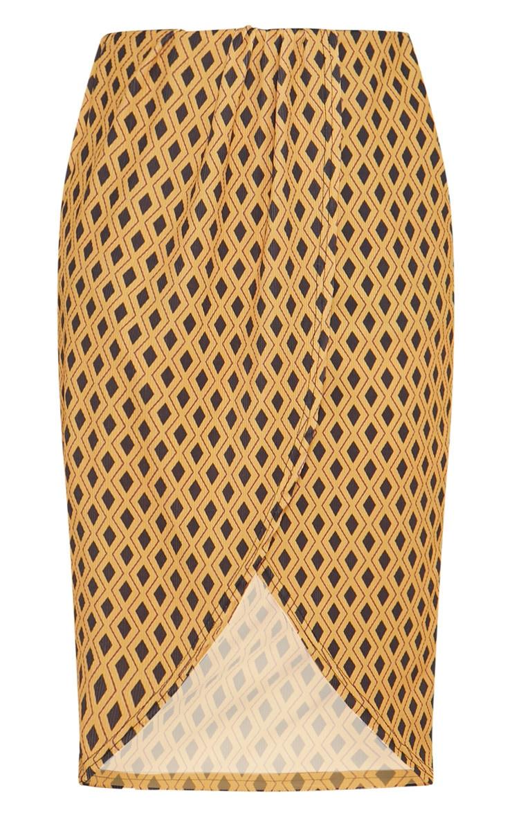 Mustard Geometric Printed Wrap Front Midi Skirt  3