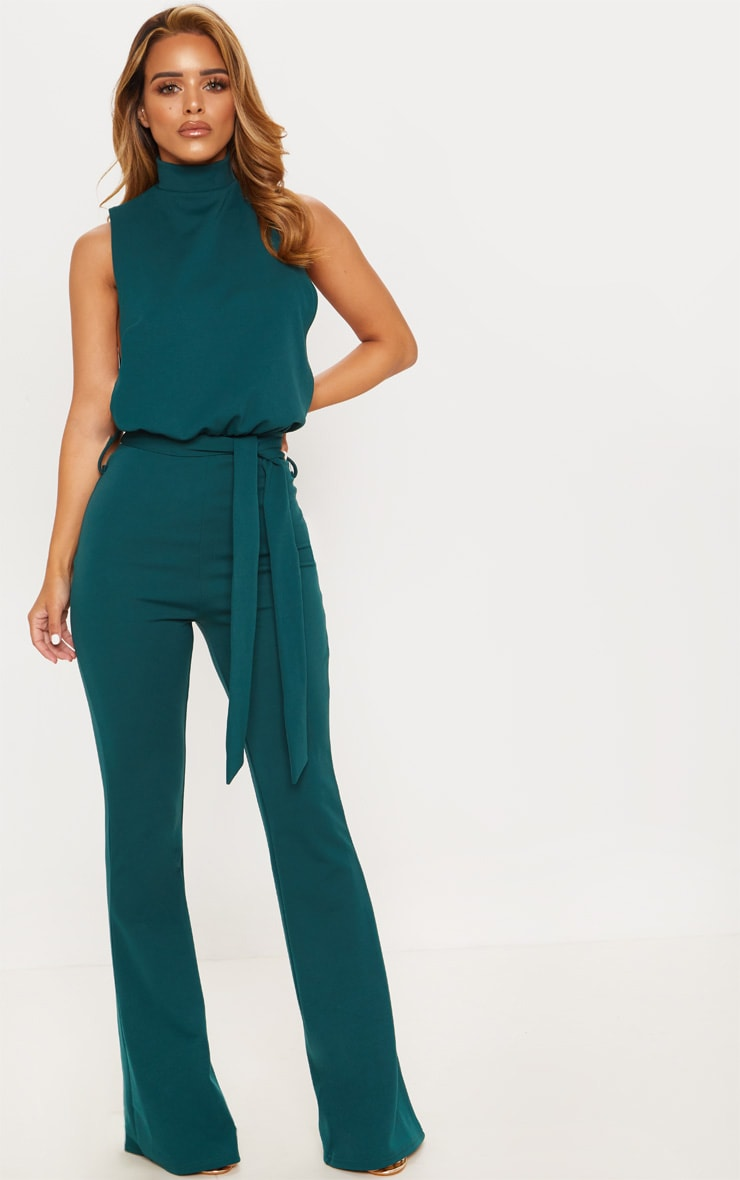 Petite Emerald Green Scuba High Neck Tie Waist Jumpsuit 4