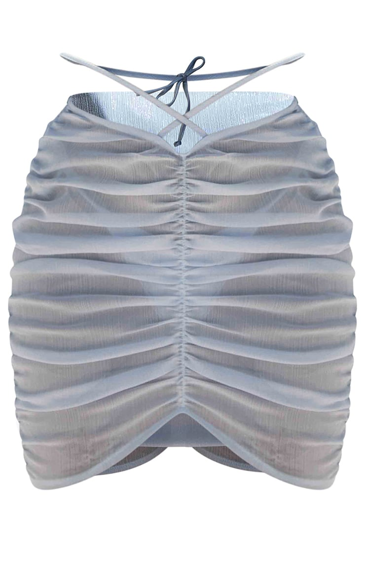 Baby Blue Tie Waist Ruched Beach Skirt 4