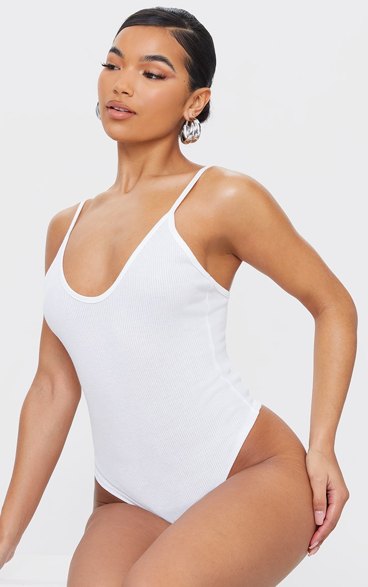 Cream Marl Rib Strappy Bodysuit 2