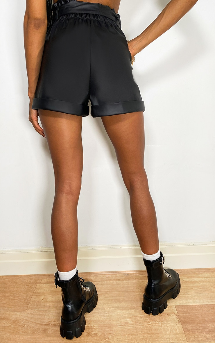 Black Belted Faux Leather Short 3