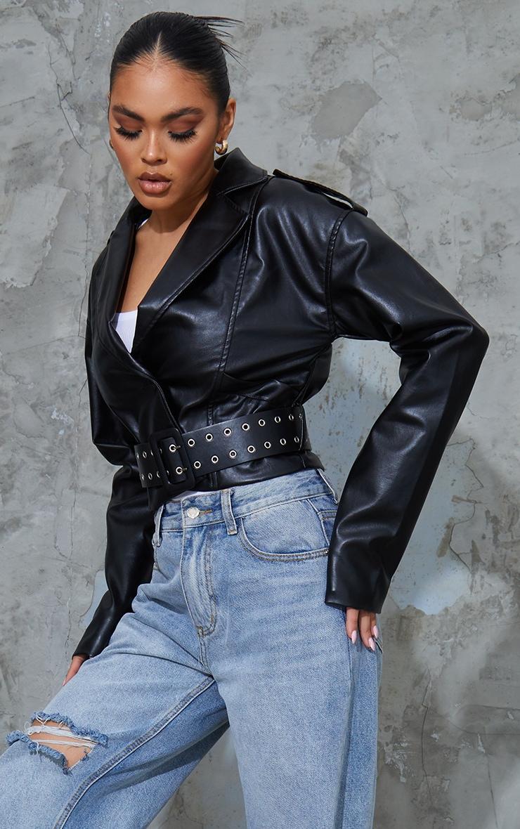 Black PU Chunky Belted Cropped Biker Jacket 1