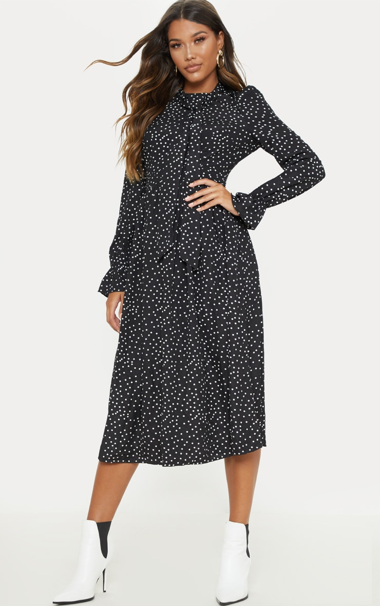 Black Polka Dot Tie Neck Floaty Midi Dress 1