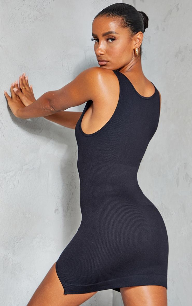 Black Structured Contour Rib Sleeveless Bodycon Dress 2