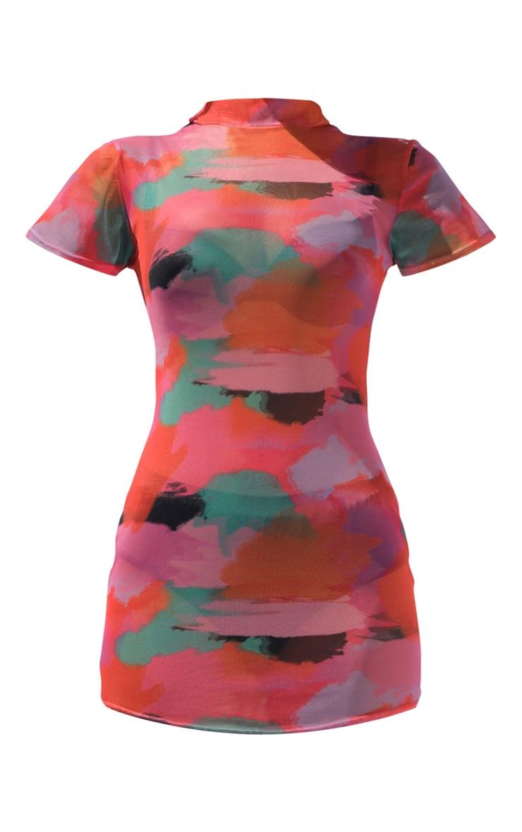 Multi Tie Dye Mesh High Neck Short Sleeve Bodycon Dress 5