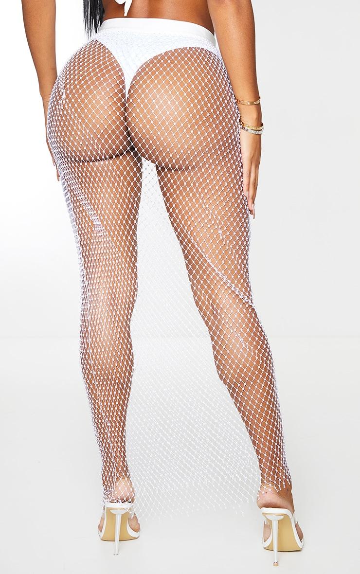 Shape White Mesh Diamante Maxi Skirt 3