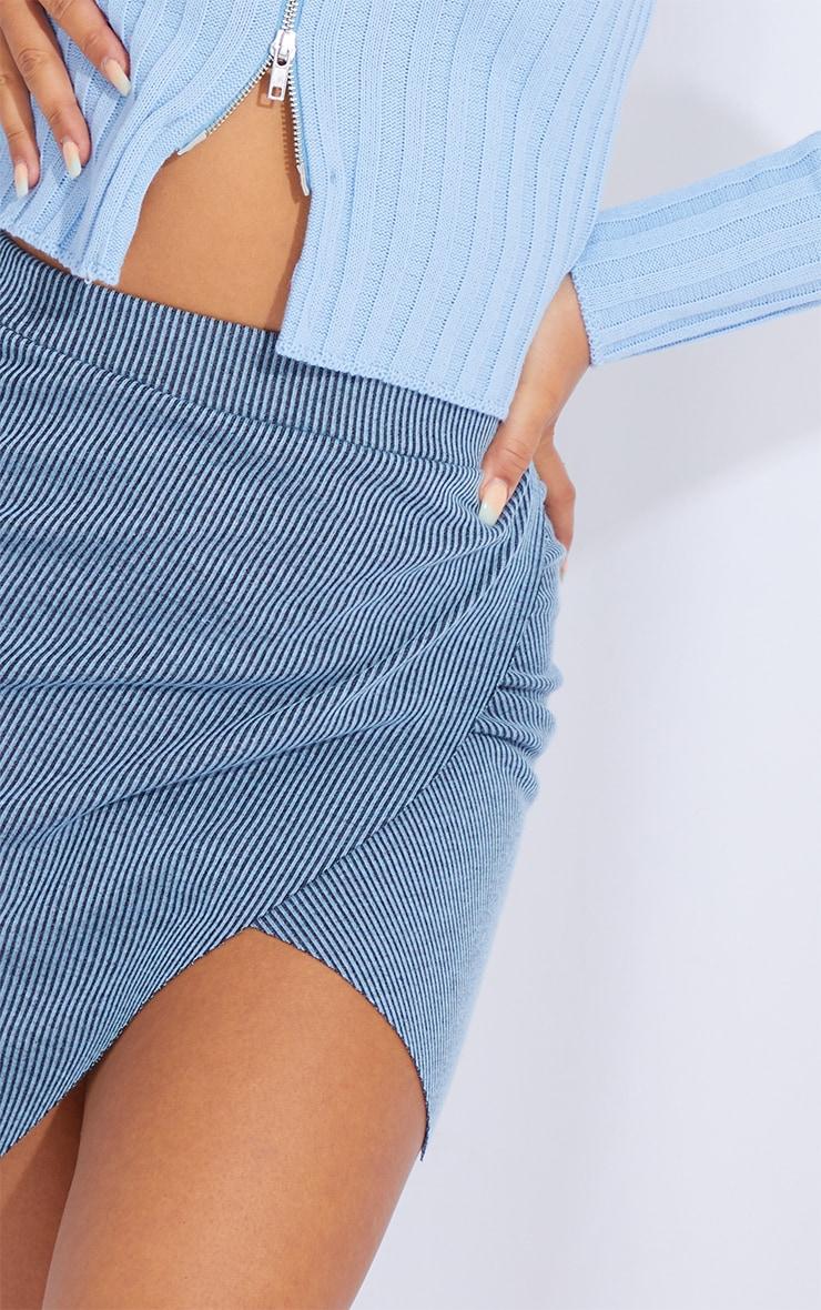 Blue Contrast Rib Wrap Mini Skirt 5