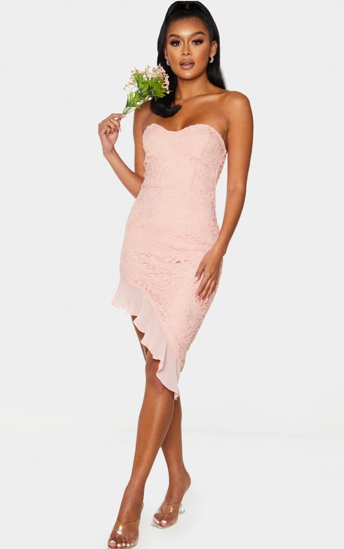 Dusty Pink Lace Bandeau Chiffon Frill Bodycon Dress 1