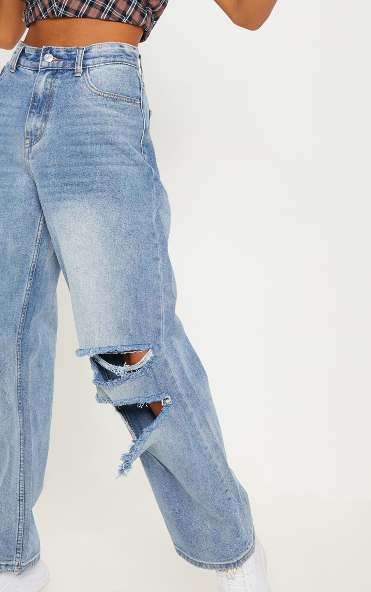 premium selection the best attitude united states Mid Wash Baggy Low Rise Distressed Boyfriend Jeans