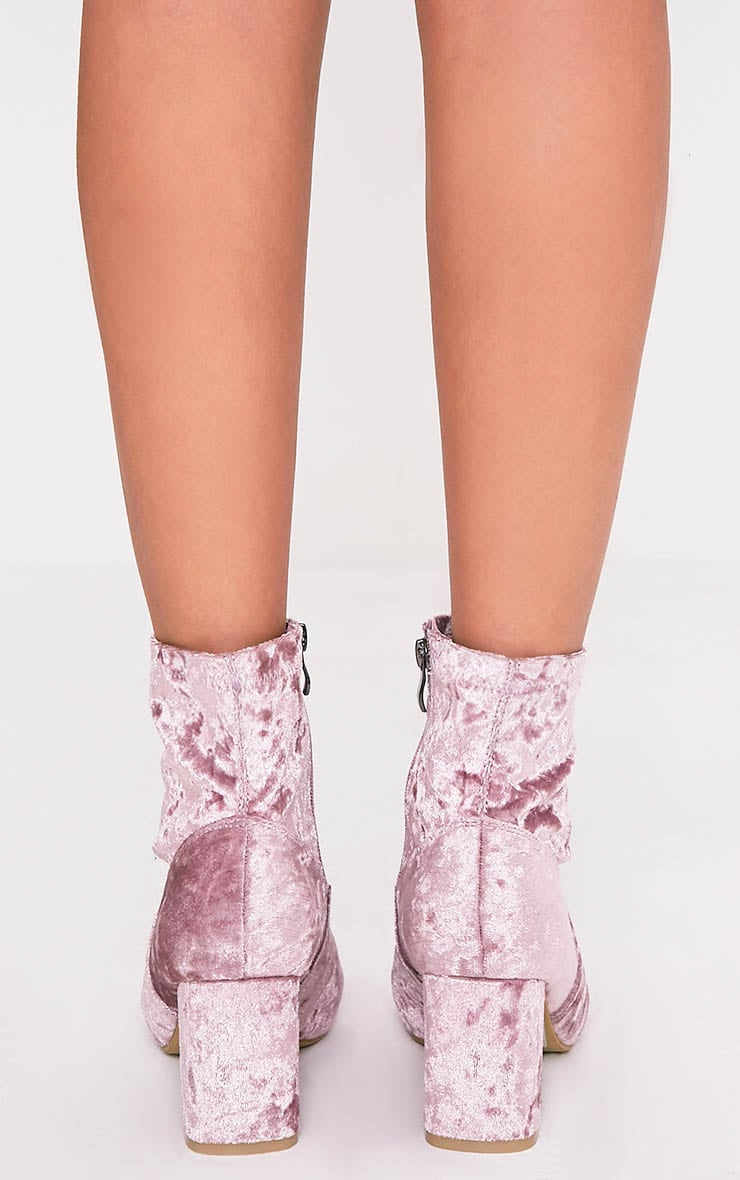 Hayden Blush Crushed Velvet Ankle Boots 4