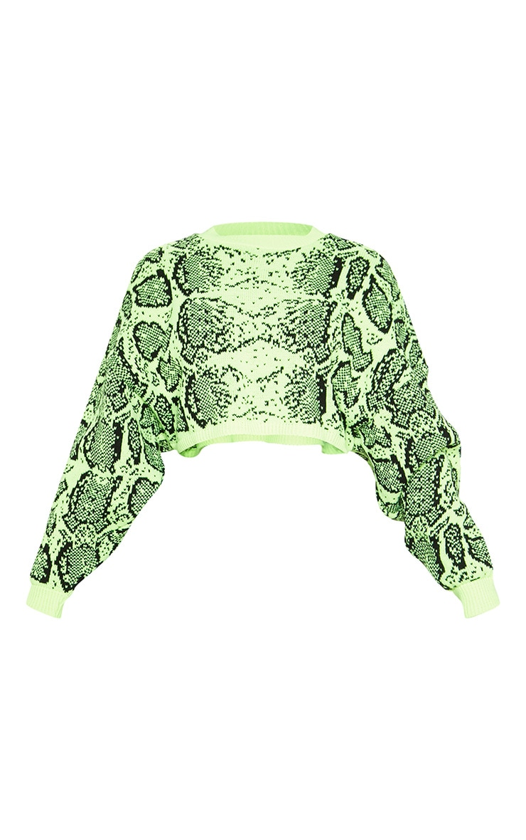 Lime Snake Print Knitted Cropped Jumper  3