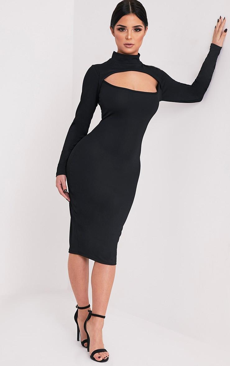 Shape Kayleene Black Open Front Crepe Midi Dress 5