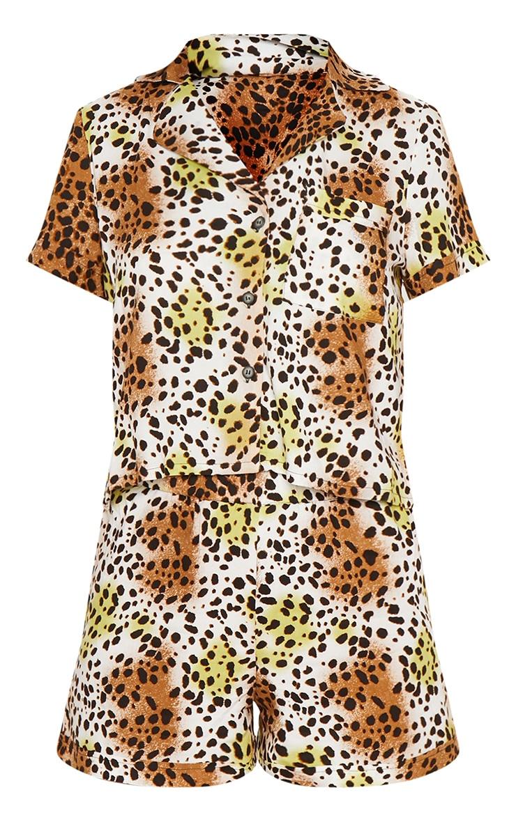 Tan Leopard Print Short Sleeve Button Up PJ Set 3