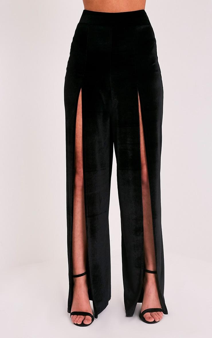 Kiley Black Split Front Velvet Wide Leg Trousers 2