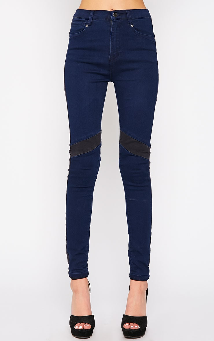 Bianca Blue Skinny Jean with Black Panel 2