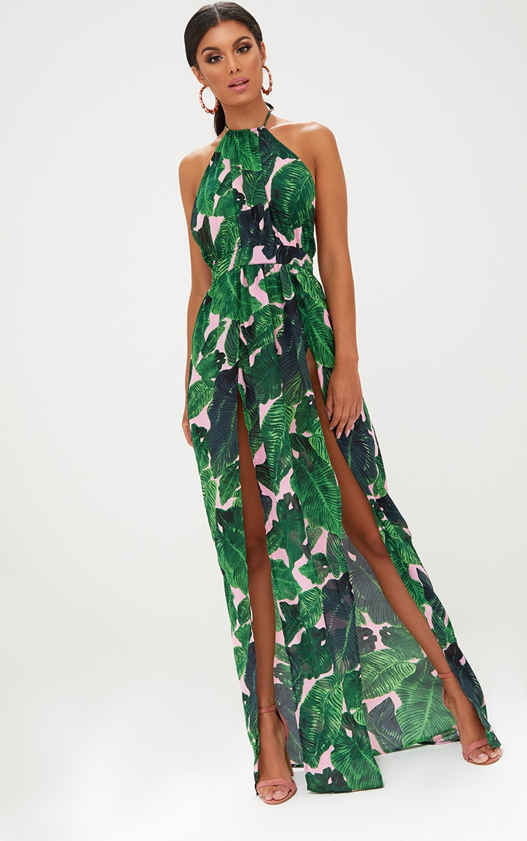 Pink Tropical Print Halterneck Maxi Dress