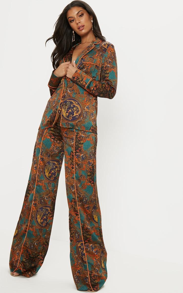 Multi Paisley Print Wide Leg Pants 1