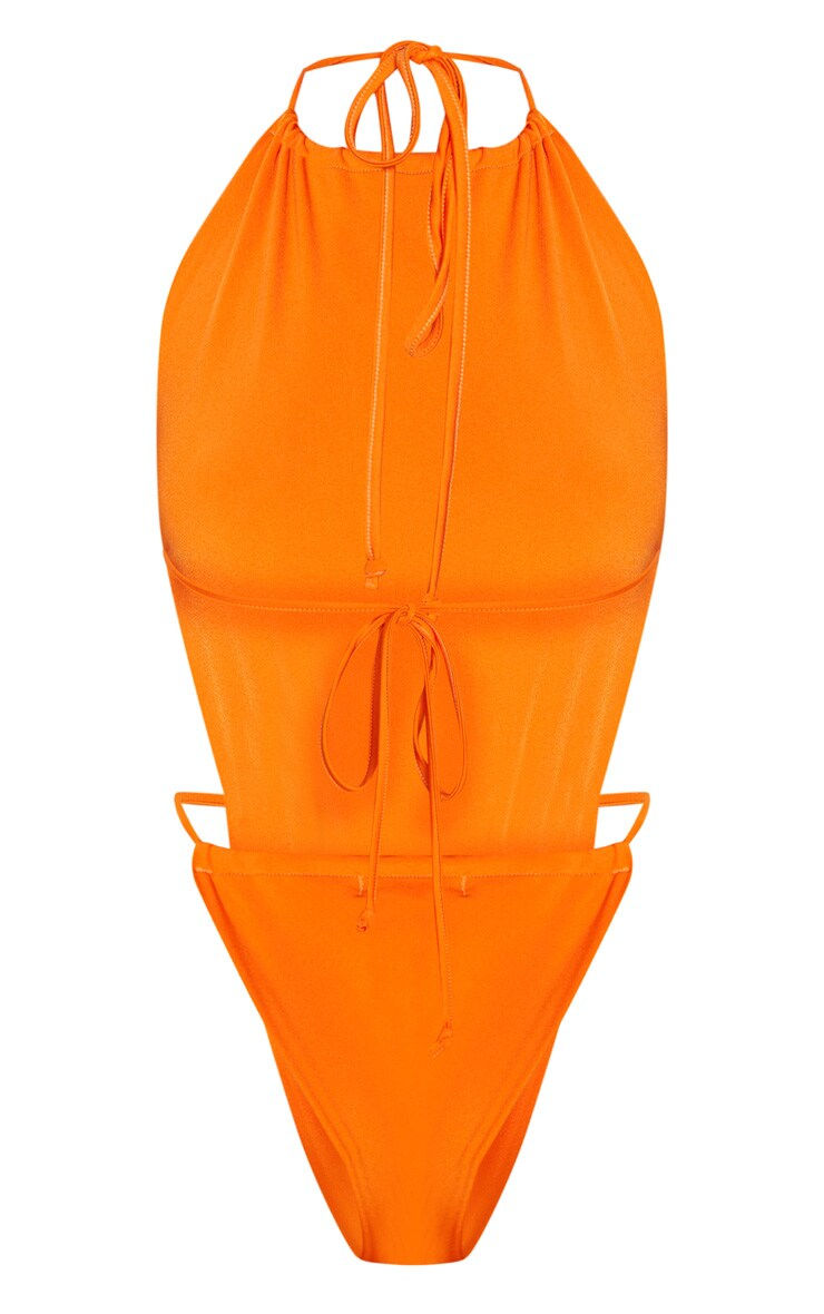 Orange High Neck Tie Front Swimsuit 4