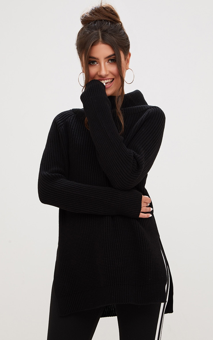 Black High Neck Jumper 1