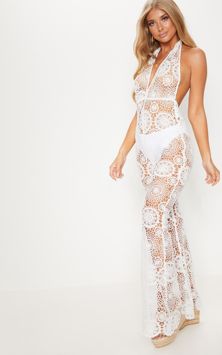 White Crochet Lace Halterneck Jumpsuit 1