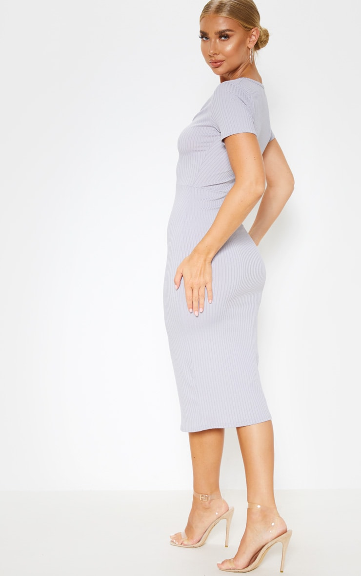 Grey Ribbed Short Sleeve Ring Detail Midi Dress 2