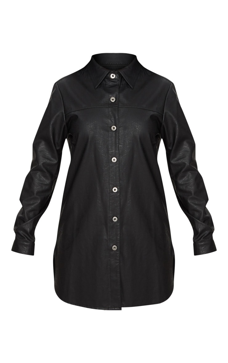 Black PU Shirt Dress 3