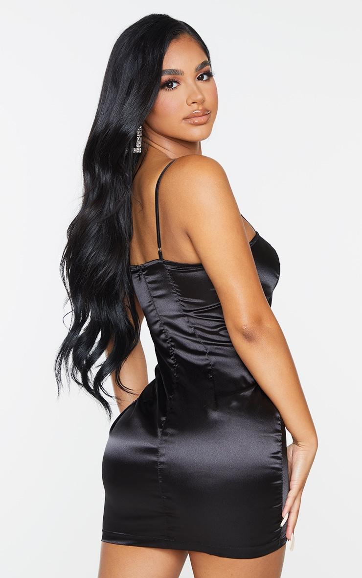 Petite Black Satin Strappy Straight Neck Bodycon Dress 3