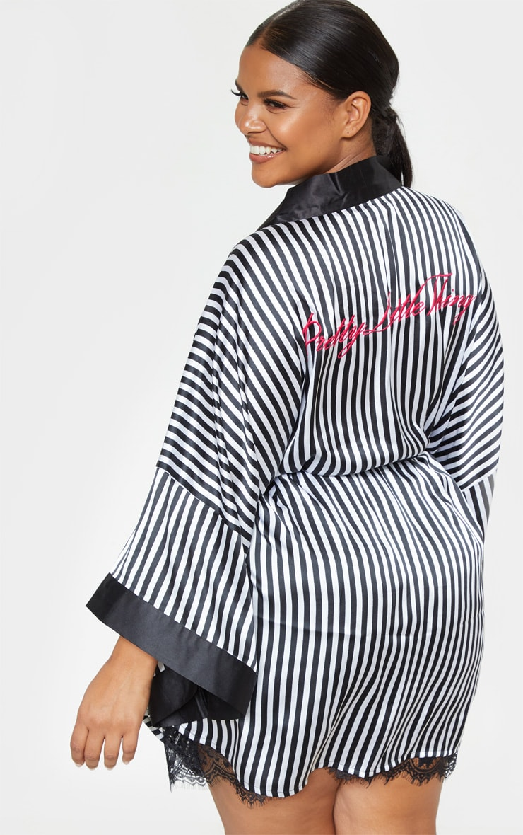 PRETTYLITTLETHING Plus Black Striped Satin Robe 1