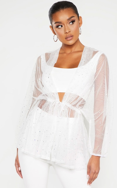 White Mesh Diamante Ruched Waist Shirt