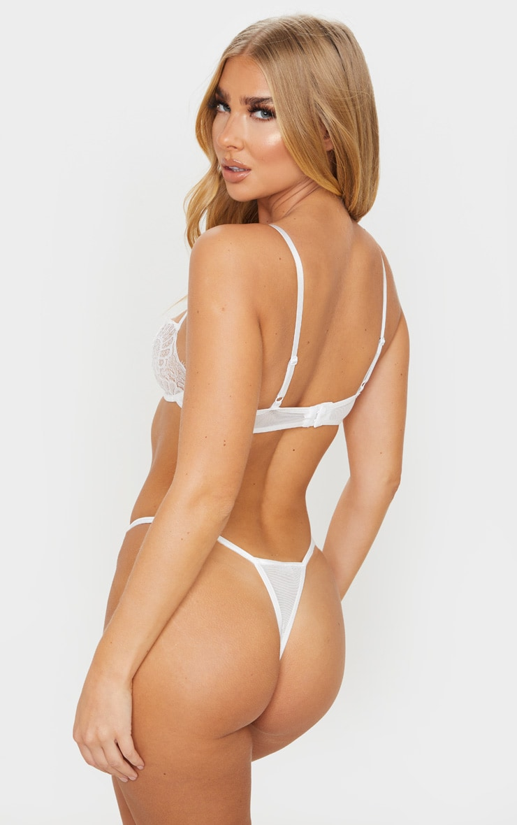 White Ring Detail Lace Underwired Bra 2