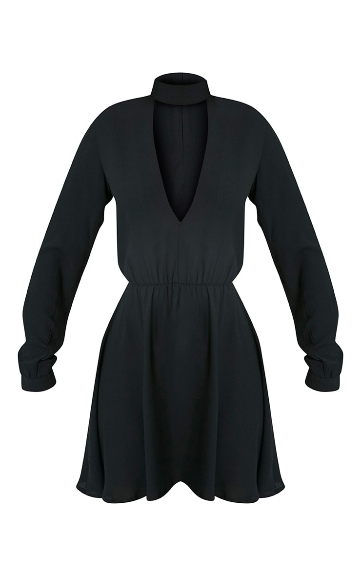 Helena robe trapèze ras du cou noire 3